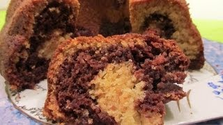 Vanilla-Chocolate Eggless Marble cake - in Tamil