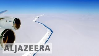 Antarctica : Massive iceberg breaks off ice shelf One of the largest icebergs in history weighing more than a trillion tonnes has broken away from an ice she...