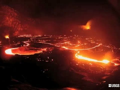 Lava filled crater in Hawaii collapsing