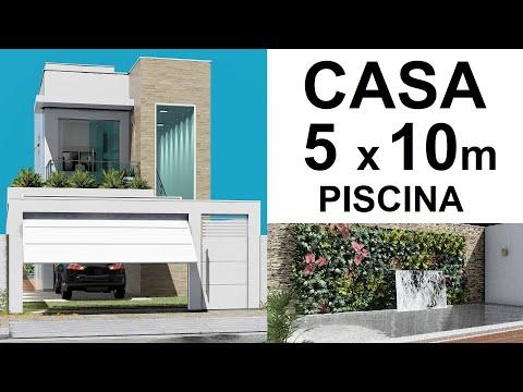 CASA PEQUENA DE 5 x 10 METROS - PISCINA COM CASCATA