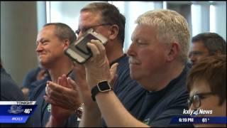 Lockette reuintes with paramedics who saved his life