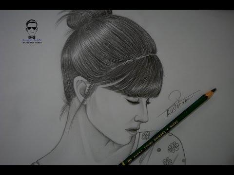 تعلم رسم وجه فتاة بشكل جانبي مع الخطوات للمبتدئين ( بورتريه )