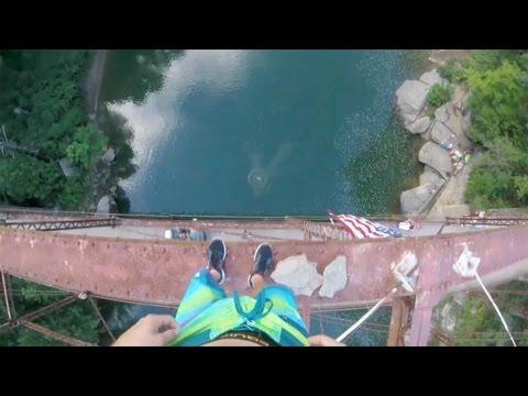 Daredevil Jumps Off 105ft Bridge