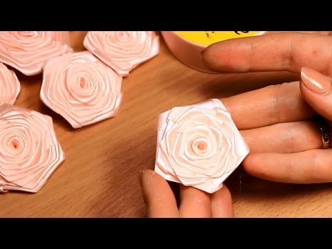 Плоский цветок из лент своими руками - Канзаши Мастер Класс - m