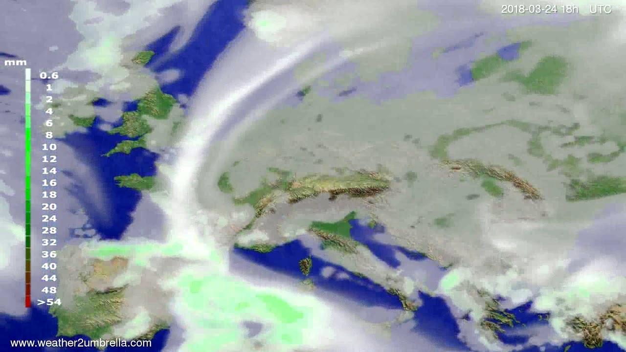 Precipitation forecast Europe 2018-03-21