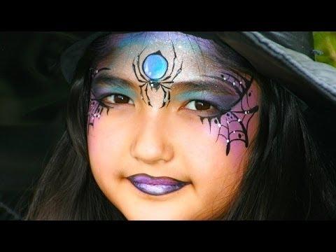 Maquillage Halloween de sorcière avec araignée - Tutoriel maquillage Halloween enfant ou adulte