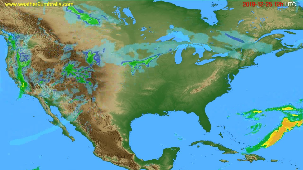 Radar forecast USA & Canada // modelrun: 00h UTC 2019-12-25
