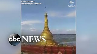 A Buddhist pagoda in Myanmar fell into a river after heavy rains caused water levels to rise, weakening land beneath it.