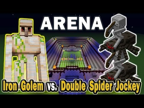 Minecraft Arena Battle Iron Golem vs. Double Spider Jockey