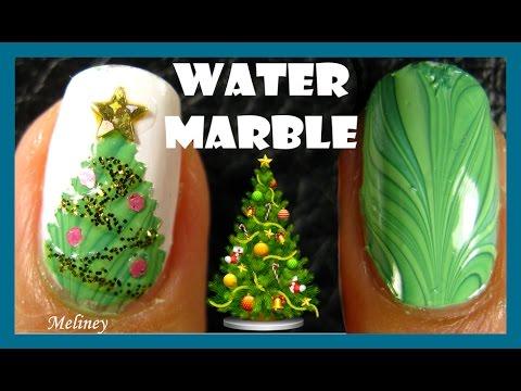 nail art - water marble albero di natale