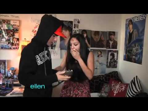 surprised - An Ellen viewer, Paige, is a huge Justin Bieber fan, so Ellen set up a big surprise for Paige at her house -- Justin himself! Then Ellen had another surprise...