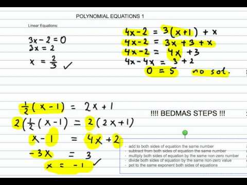 How to Solve Linear and Quadratic  Polynomial Equations Part 1