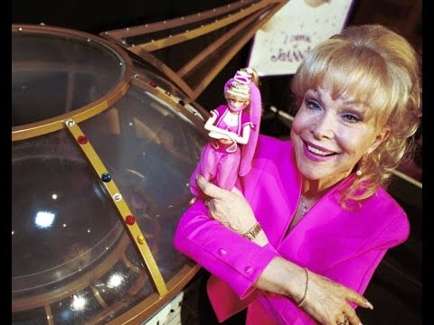Barbara Eden promoting I Dream of Jeannie Barbie doll