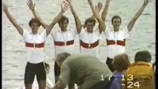 Der Ruhrvierer, die Renngemeinschaft Ruder-Club Witten / Hansa Dortmund mit Norbert Keßlau, Volker Grabow, Jörg Puttlitz und...