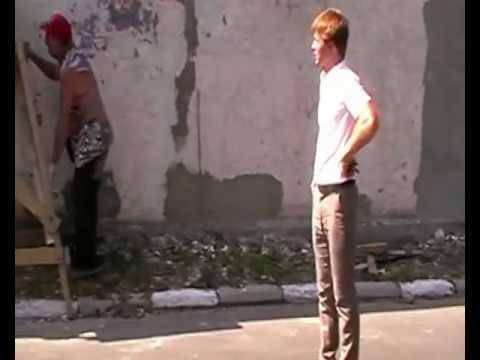 Установка козырька на стену около городка БДД