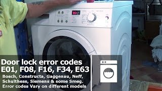 http://www.how-to-repair.com/help/washing-machine-doorlock-error-codes-e01-f08-f16-f34-e63-bosch-neff-siemens/Error fault codes with E01, F08, F16, F34, E61 Error codes Vary on different models starting with WAA, WAE, WAQ, WFF, WFL, WFP, WOK, WOL.This video will show you how to replace a washing machine door lock (called an interlock); we will show you a step by step procedure on this process. This video can be used on Bosch, Constructa, Gaggenau, Neff, Schulthess, Siemens & some Smeg.To find your door lock for your Washing Machine you will need the full model number and on some models we will even need the serial number as the manufactures sometimes have fitted more than one type to a model series.