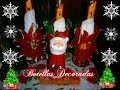 Como hacer Botellas decoradas Navideñas/How to make