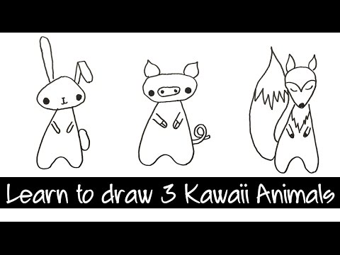Learn to draw three kawaii animals - Pig, Rabbit, Fox