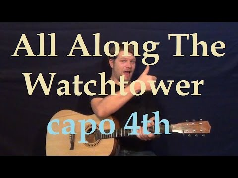 All Along the Watchtower (Bob Dylan) Easy Strum Guitar Lesson - How to Play Chords Beginner