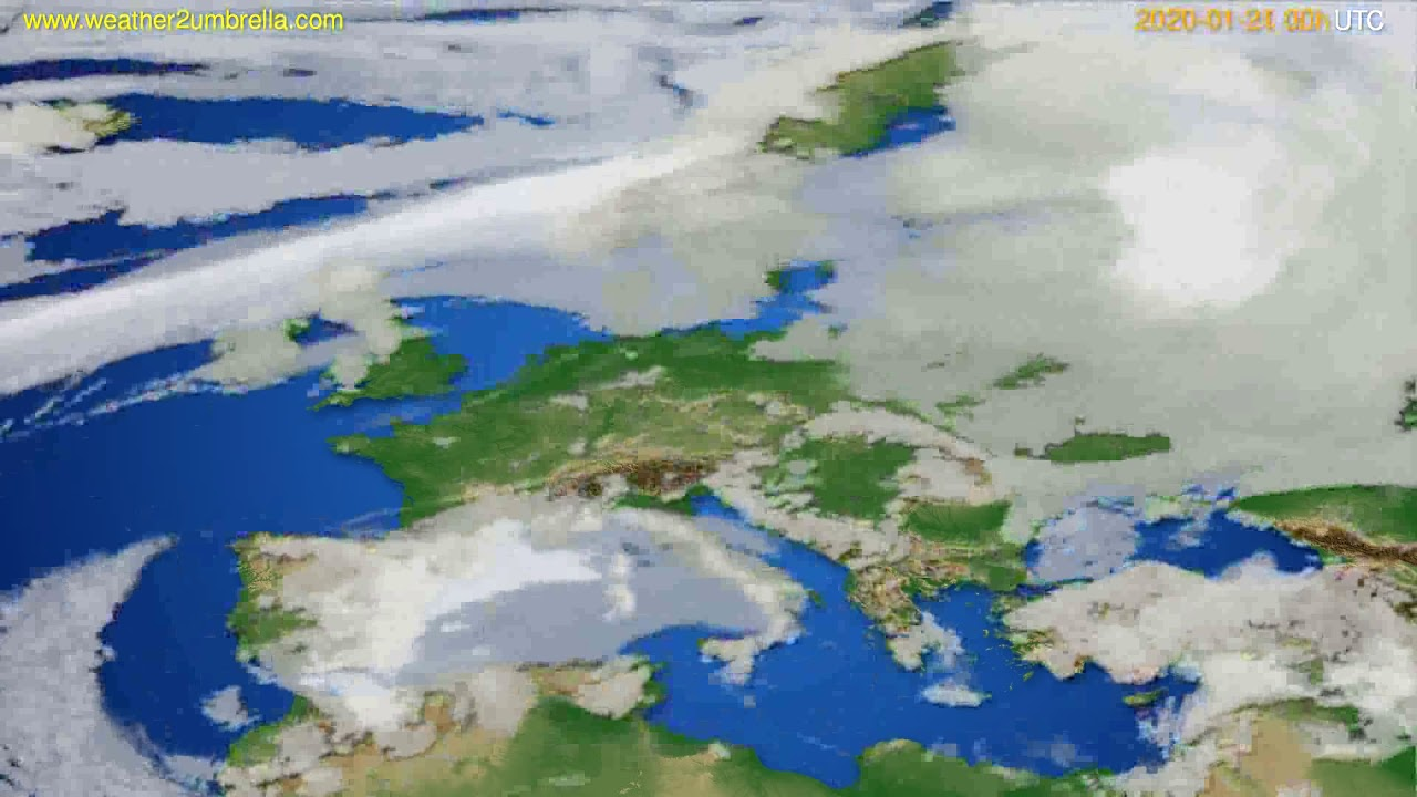 Cloud forecast Europe // modelrun: 00h UTC 2020-01-20