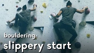 Slippery foot work start on this bouldering problem | Climbing gym Cliffs of ID by  rockentry