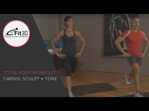 Total Body Workout 7, Cardio, sculpt and tone fitness, full 30 mins
