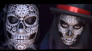 Only In Ur Mind: Welcome to Only In Ur Mind. I have been having so much fun doing steampunk makeup's. I thought it would be cool to do a skull made out of gears and I did two makeup's.  So this week's video has two skulls made out of gears. I hope you enjoy!Make-up used mehron paradise paint: white and starblend in black   Tag: silverCameleon: blackFAB: goldmusic from the YouTube library For most of the products I use please check out my affiliate link : https://store.facepaint.com/tasharo.html