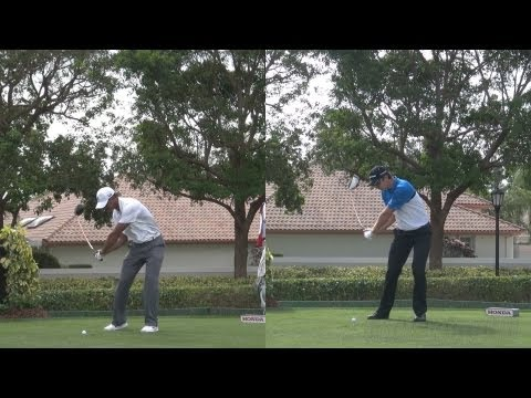 TIGER WOODS VS JUSTIN ROSE SIDE BY SIDE DRIVER – 2013 GOLF SWING REG & SLOW MOTION – 1080p HD