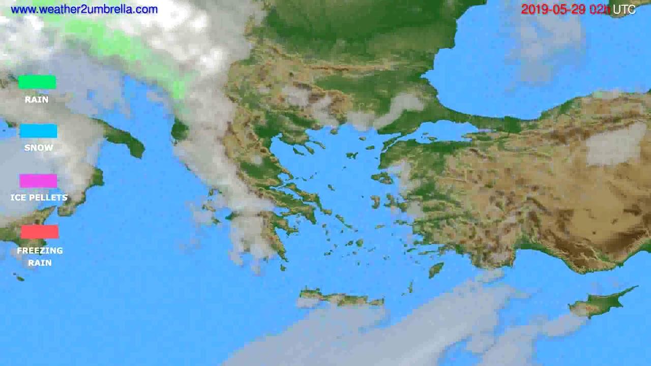 Precipitation forecast Greece // modelrun: 12h UTC 2019-05-26