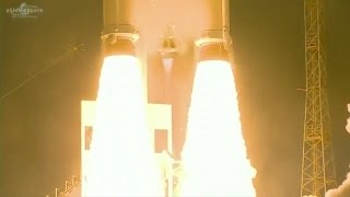 Video Credit: Arianespace Launch Updates: http://spaceflight101.com/ariane-5-va234/ Europe's Ariane 5 rocket rumbled away...