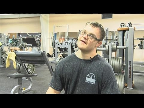 Man with Down Syndrome ready for bodybuilding competition