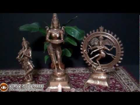 SOLD Brass Krishna Statue Playing Flute 34