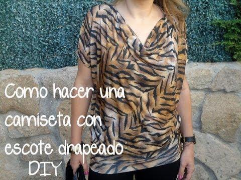 DIY ropa. (Patrón gratis): Como hacer una camiseta con escote drapeado diy