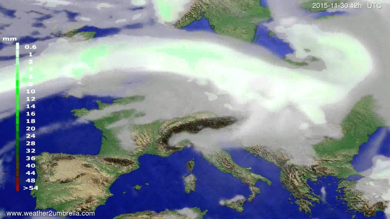 Precipitation forecast Europe 2015-11-26