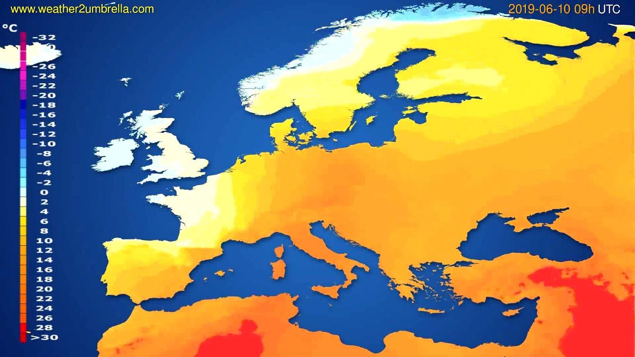 Temperature forecast Europe // modelrun: 00h UTC 2019-06-08