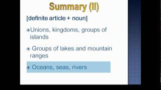 Articles with Places and Geographical Names, English Grammar Lesson 24 Part 2