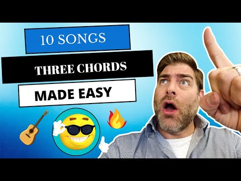 How to play 10 EASY guitar songs using 3 chords E, A, & D l Beginners Level