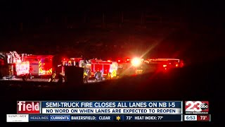 Semi-truck carrying juice catches fire and forces the closure of all lanes on NB I-5.
