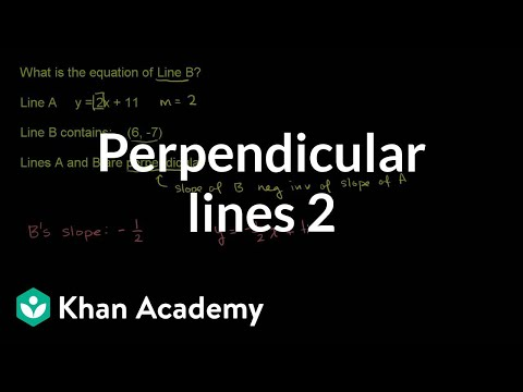 Writing Equations Of Perpendicular Lines Analytic Geometry Video