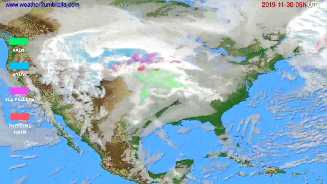 Precipitation forecast USA & Canada // modelrun: 00h UTC 2019-11-29