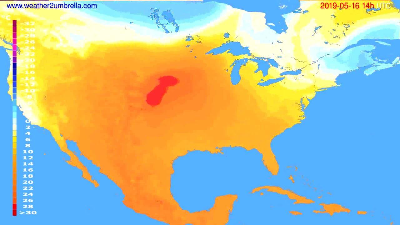 Temperature forecast USA & Canada // modelrun: 12h UTC 2019-05-13