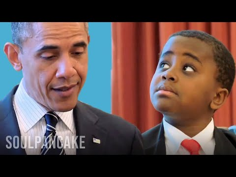 kid - After previously only speaking via can and string, Kid President and President Barack Obama finally meet face to face. The two met in the Oval Office to disc...