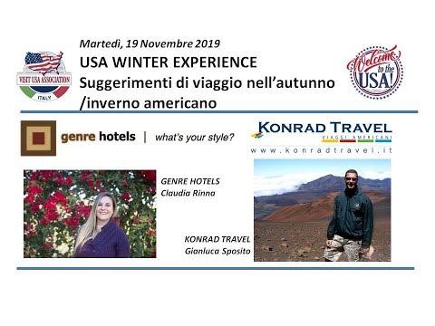 Video USA WINTER EXPERIENCE  Suggerimenti di viaggio nell'autunno-inverno americano (19-11-2019)