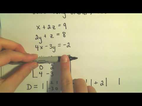 Cramer's Rule to Solve a System of 3 Linear Equations – Example 1