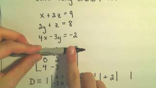 Cramer's Rule to Solve a System of 3 Linear Equations - Exampl...