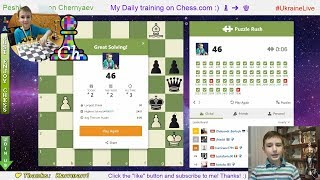 FRESH online RECORD!!! Chess prodigy Tihon(9 y.o.) did 46 in Puzzle Rush on Chess.com. 09/03/2019