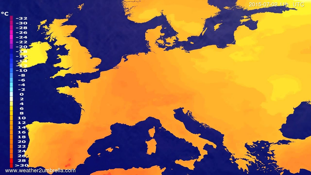 Temperature forecast Europe 2015-06-28