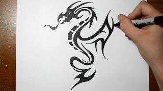 Видео: рисуем тату дракона маркером