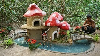 Collect Homeless Kittens and Building Mud Cat House with Round Fish Pond and Raising 500 Red Fish
