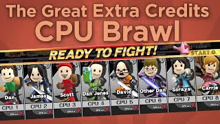 The YouTube channel Extra Credits did a 8-CPU mii-fighter match, commentated by the shows host. Chaos ensues.